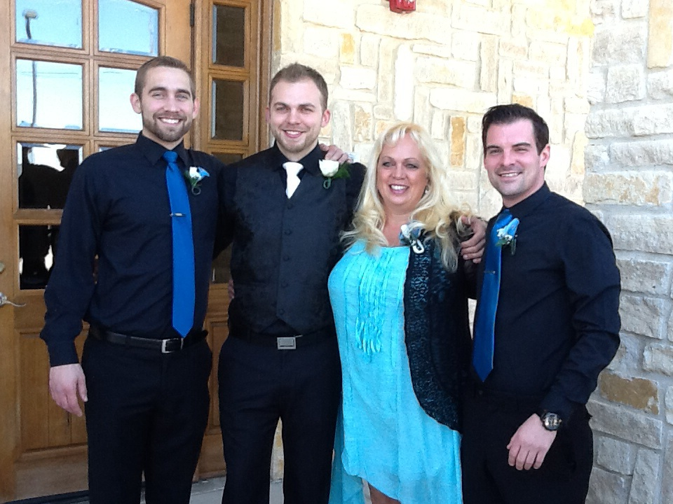 Me, standing between my son, and my second-son.  And another childhood friend.  I sure do love these boys, now men.