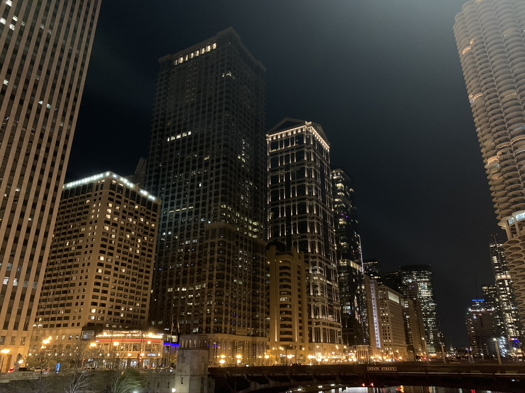 Chicago night lights along the river.